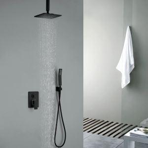 埋込形シャワー水栓 レインシャワーシステム バス蛇口 ヘッドシャワー+ハンドシャワー 吊上げ式 黒色