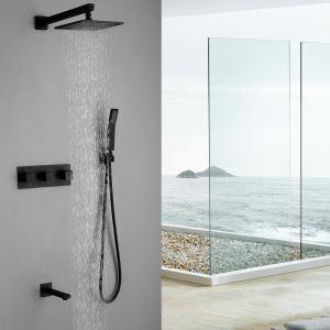 埋込形シャワー水栓 レインシャワーシステム バス水栓 ヘッドシャワー+ハンドシャワー+蛇口 混合栓 黒色