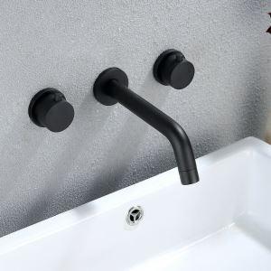 壁付蛇口 バス水栓 洗面蛇口 水道蛇口 手洗い器水栓 2ハンドル混合栓 黒色