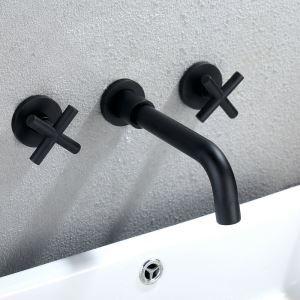 壁付水栓 バス水栓 洗面蛇口 水道蛇口 2ハンドル混合水栓 ハンドル別掛け 黒色