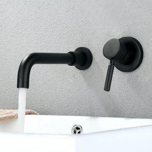 壁付水栓 バス蛇口 洗面水栓 手洗い器蛇口 冷熱混合栓 水道蛇口 水栓金具 黒色
