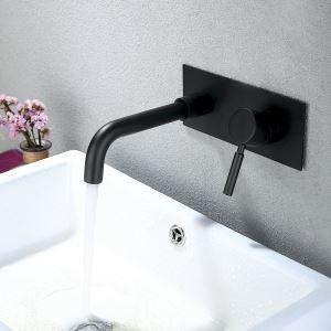 壁付水栓 洗面蛇口 バス水栓 水道蛇口 冷熱混合栓 黒色