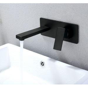壁付水栓 洗面蛇口 バス水栓 水道蛇口 冷熱混合栓 手洗い鉢水栓 黒色