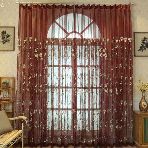 レースカーテン オーダーカーテン UVカット ユリ柄 刺繍 オシャレ シアーカーテン(1枚)