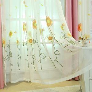 レースカーテン オーダーカーテン UVカット ひまわり柄 刺繍 オシャレ シアーカーテン(1枚)