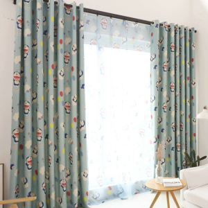 遮光カーテン オーダーカーテン UVカット ポリエステル ドラえもん柄 北欧風 子供屋 3級遮光カーテン(1枚)