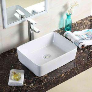 手洗い鉢 洗面ボウル 手洗器 洗面ボール 陶器 四角型 置き型 排水栓&排水トラップ付 48.5cm 翌日発送