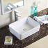 手洗い鉢 洗面ボウル 手洗器 洗面ボール 洗面台 陶器 四角型 置き型 排水栓&排水トラップ付 48.5cm 翌日発送