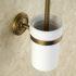 トイレブラシホルダー トイレ用品 トイレ掃除 トイレブラシ&ポット付き アンティーク調 ブラス色