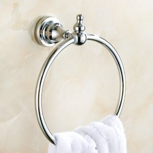 浴室タオルリング タオル掛け タオル収納 壁掛けハンガー 真鍮製 クロム