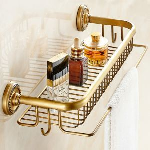 シャンプースタンド シャワーラック 浴室収納  フック付き アンティーク調 ブラス色