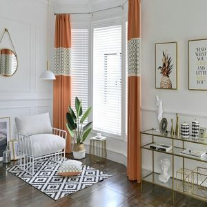 遮光カーテン オーダーカーテン 刺繍 純色 オシャレ 3級遮光カーテン(1枚)