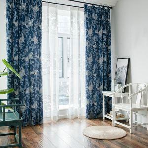 遮光カーテン オーダーカーテン 捺染 エコ生地 青色(1枚)