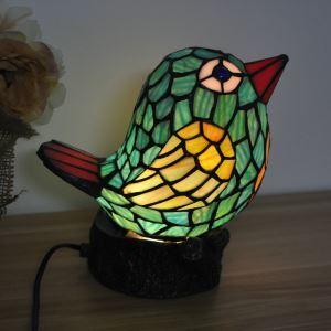 テーブルランプ ティファニーライト ステンドグラスランプ 枕元スタンド ナイトライト 鳥型 1灯