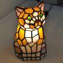 テーブルランプ ステンドグラスランプ 枕元スタンド ナイトライト 猫型 1灯