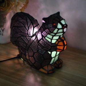 テーブルランプ ティファニーライト ステンドグラスランプ 枕元スタンド ナイトライト リス型 1灯