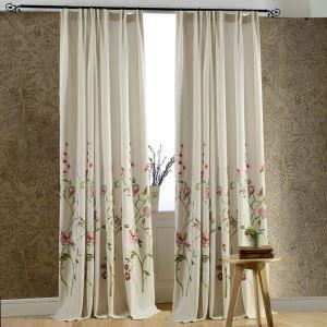 遮光カーテン オーダーカーテン 刺繍 赤色花柄 現代(1枚)