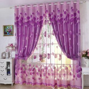 レースカーテン オーダーカーテン シアーカーテン ジャカード 葉柄 紫色(1枚)