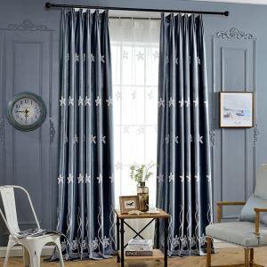 遮光カーテン オーダーカーテン 刺繍 ヒトデ 2色 3級遮光カーテン(1枚)