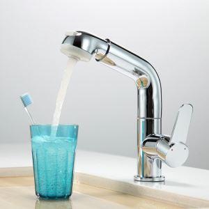 洗面蛇口 スプレー混合栓 洗髪用水栓 ホース引出式 水道蛇口 立水栓 クロム H26cm HY2033B