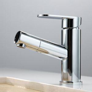 洗面蛇口 スプレー混合栓 洗髪用水栓 ホース引出式 水道蛇口 立水栓 クロム 2031