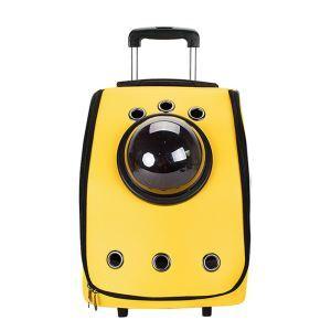 ペット旅行パッケージ ペットキャリー ペットケース 犬猫兼用 手持ち レバー付 キャスター付 通気性抜群 ポータブル 宇宙船カプセル型 黄色