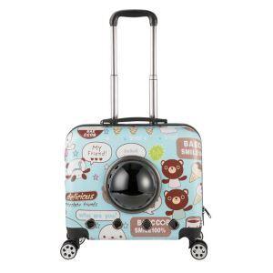 ペット旅行パッケージ ペットキャリー ペットケース 犬猫兼用 手持ち レバー付 キャスター付 通気性抜群 ポータブル 宇宙船カプセル型 熊柄