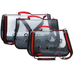ペットキャリーバッグ 犬猫兼用 手提げバッグ ショルダーバッグ 外出 散歩用 防水性 折り畳み 透視 赤色 S53cm