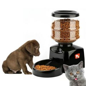ペット自動給餌器 自動給食機 オートフィーダー 音声録音機能 定時給食 犬猫兼用 出張 旅行 留守用 大容量5.5L 黒