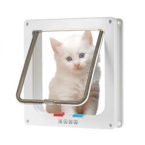 ペットドア 猫のドア 扉 ロック 犬猫出入り口 小型犬用 猫用ドア 取付簡単 4way切替 L