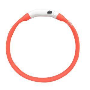 LED光る首輪 発光首輪 USB充電 3モード発光 夜道の安全 視認性バツグン 注目度満点 お散歩 事故防止 赤色 L