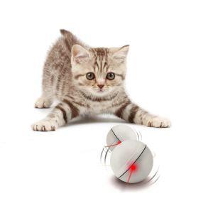 猫のおもちゃ LEDボール 猫じゃらし 電動 自動 ランダムに動く コロコロ玩具 運動不足 ストレス解消 ペット 白色