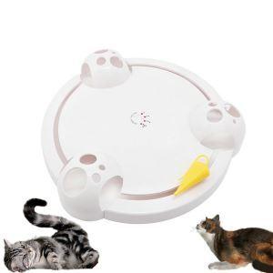 猫おもちゃ ペット用品 自動回転 游ぶ盤 ストレス解消 あそび ねずみを追いかける 肥満解消