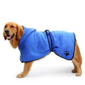 ペットバスローブ ガウン ペットローブ 犬猫兼用 犬のタオル 体拭き タオル お風呂 汗 お散歩後に最適 ブルー L