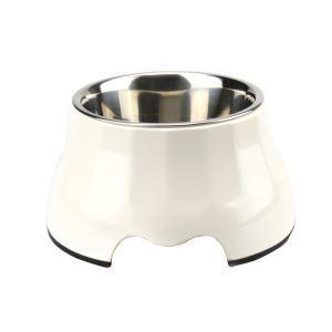 ペット食器 ペットボウル 犬猫用ボウル 滑り止め 足高型 給水両用 ステンレス製 白色