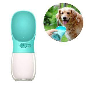 ペット給水器 水飲みボトル 水槽付き 水漏れ防止 携帯便利 水補給 犬猫用 お散歩 旅行 水やり用品 ブルー