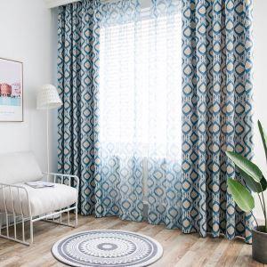 遮光カーテン 寝室カーテン 捺染 菱形柄 断熱 1級遮光カーテン(1枚)