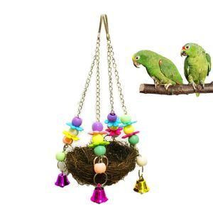 インコの巣 鳥の巣 ブランコ 巣箱 草編みおもちゃ オウム カラフル スイング