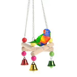 インコおもちゃ 噛む玩具 吊り橋 三角形 止まり木 オウム 鳥用品 木製 吊り下げ かご装飾