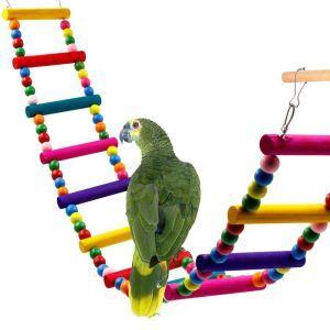インコおもちゃ ブランコ はしご カラフル オウム用 鳥用品 木製 ストレス解消 アクセサリー