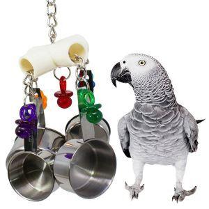 オウムおもちゃ インコおもちゃ ステンレス鋼 鍋の串 鳥用品 噛む玩具 吊り下げ トレス解消 遊び 知育訓練