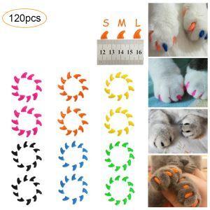 ペット用ネイルキャップ ネイルアート 爪カバー つけ爪 犬猫用 引っ掻き防止 専用接着剤付き 20個入り