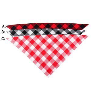 ペットスカーフ 三角スカーフ 唾液スカーフ ネッカチーフ ペットビブ オシャレ 調節可能 チェック柄