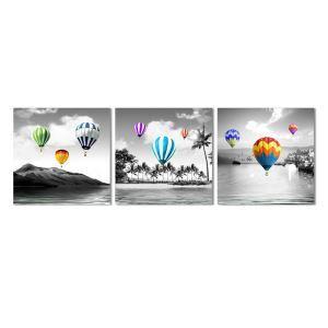 絵画 油彩画 アートパネル 装飾絵画 壁飾り 気球 プレゼント 3pcs 30*30cm