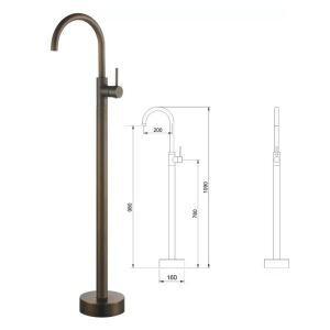 床置き型シャワー水栓 床立ち上げ式浴槽蛇口 冷熱混合水栓 ブラス色 AD5688