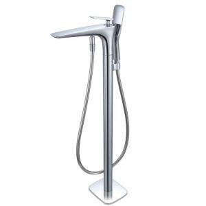 床置き型シャワー水栓 床立ち上げ式浴槽蛇口 冷熱混合栓 ハンドシャワー付き クロム AD1314