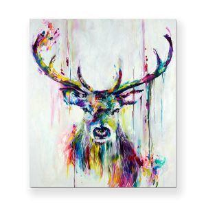 絵画 油彩画 アートパネル 装飾絵画 壁飾り 鹿 プレゼント 1pcs 30*30cm