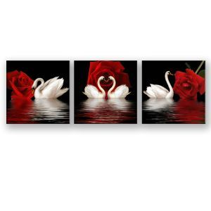 絵画 油彩画 アートパネル 装飾絵画 壁飾り ハクチョウ柄 プレゼント 3pcs 30*30cm