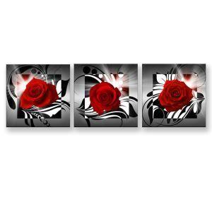 絵画 油彩画 アートパネル 装飾絵画 壁飾り ローズ柄 プレゼント 3pcs 30*30cm