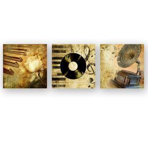 絵画 油彩画 アートパネル 装飾絵画 壁飾り 楽器 プレゼント 3pcs 30*30cm